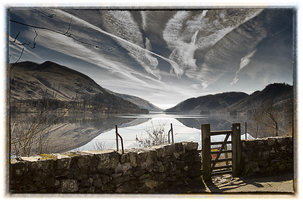 Thirlmere with vapour trails