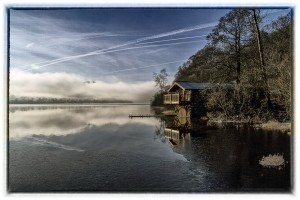 A photograph of the Duke of Portland Boathouse near Pooley Bridge, Ullswater.
