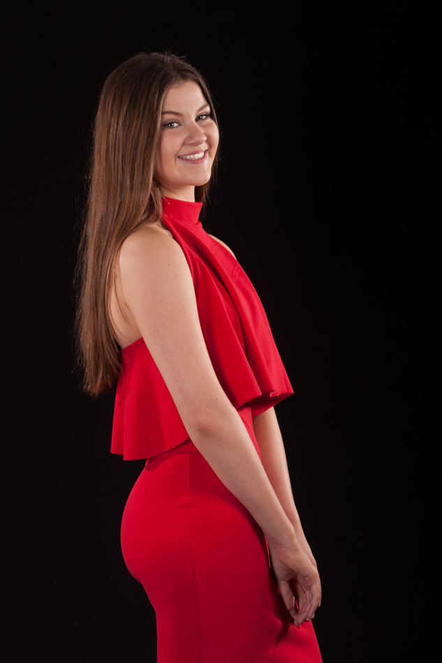 Young lady in red dress